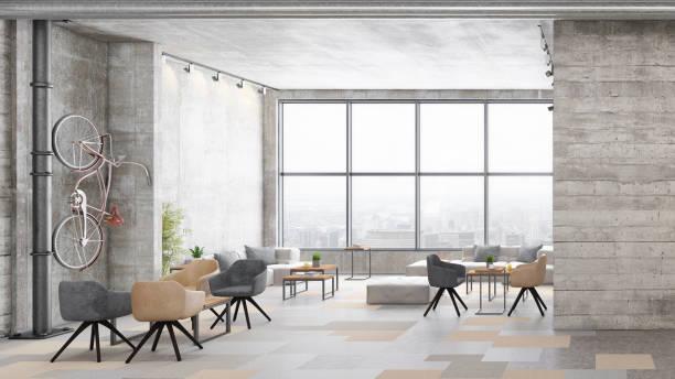 Contemporary office interior with lobby:スマホ壁紙(壁紙.com)