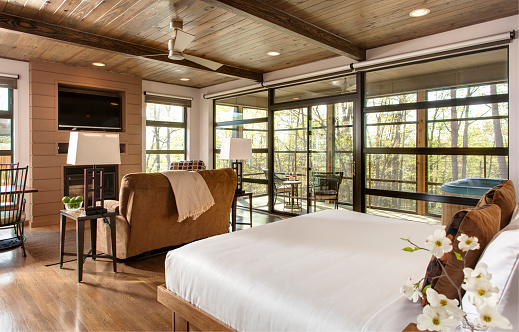 Ceiling Fan「contemporary bedroom with large glass windows」:スマホ壁紙(19)