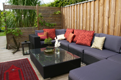 Fence「Contemporary patio with large wicker sofa. Garden design」:スマホ壁紙(15)