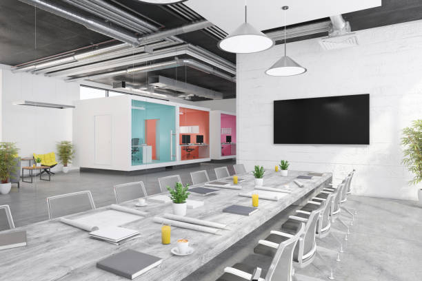 Contemporary open plan office interior:スマホ壁紙(壁紙.com)