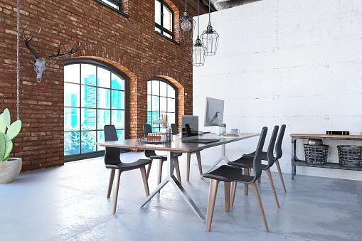 Brick Wall「Contemporary Loft Office」:スマホ壁紙(1)