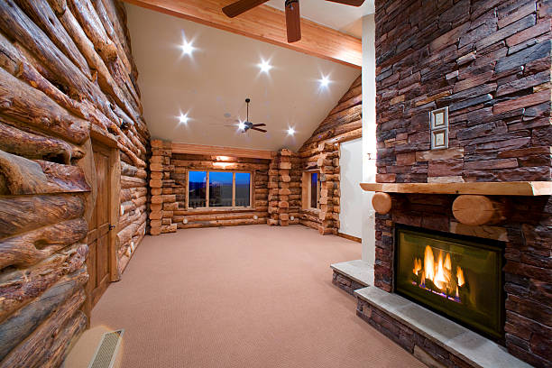 Contemporary Log House with Stone Fireplace:スマホ壁紙(壁紙.com)