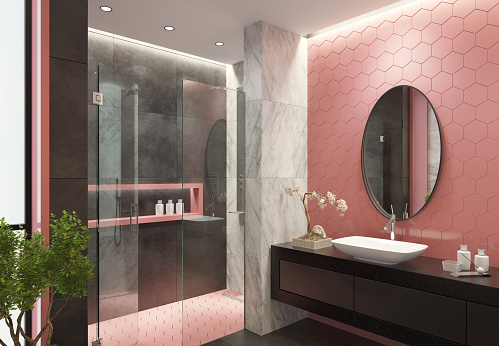 2019「Contemporary bathroom with light pink honeycomb tiles」:スマホ壁紙(8)