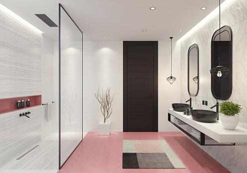 2019「現代的なバスルーム ライト ピンク ハニカム タイル」:スマホ壁紙(19)