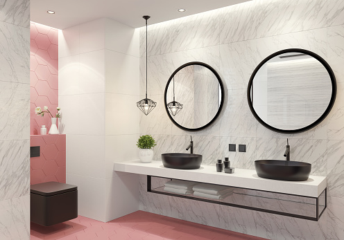 Pink「Contemporary bathroom with light pink honeycomb tiles」:スマホ壁紙(3)