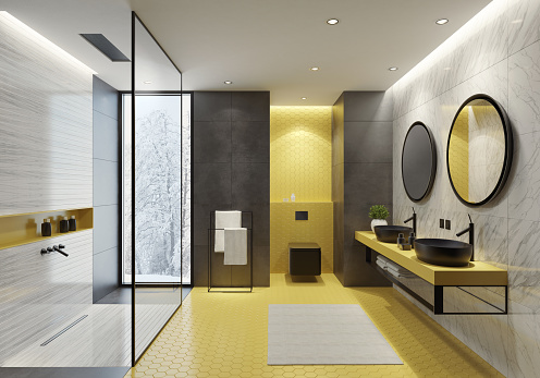 Villa「Contemporary bathroom with yellow honeycomb tiles」:スマホ壁紙(14)