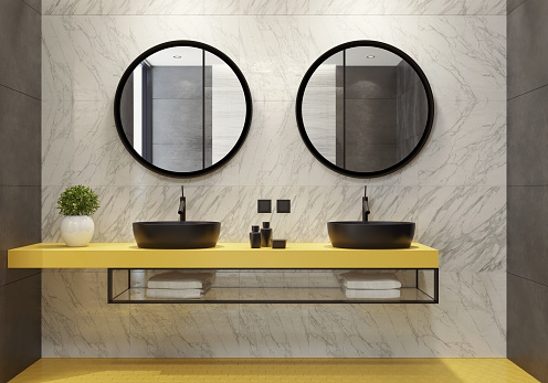 Villa「Contemporary bathroom with yellow honeycomb tiles」:スマホ壁紙(8)