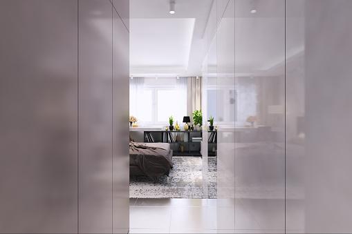 Narrow「Contemporary bedroom interior」:スマホ壁紙(11)