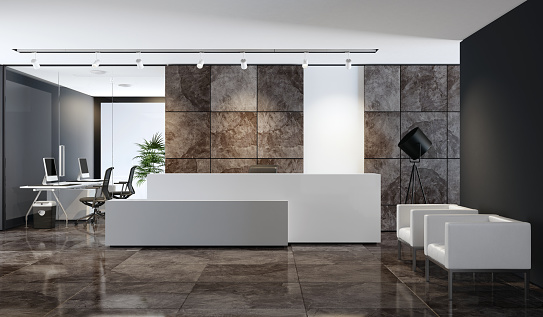 Headquarters「Contemporary office reception area with copy space」:スマホ壁紙(7)