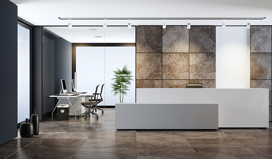 Entrance Hall「Contemporary office reception area with copy space」:スマホ壁紙(3)