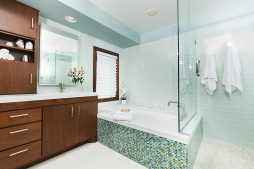 Vanity「Contemporary Home Bathroom with Shower Stall, Tub and Vanity」:スマホ壁紙(6)