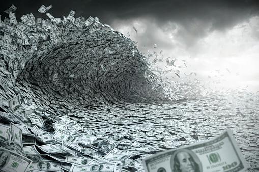 Digital Composite「Sea wave made of money」:スマホ壁紙(15)