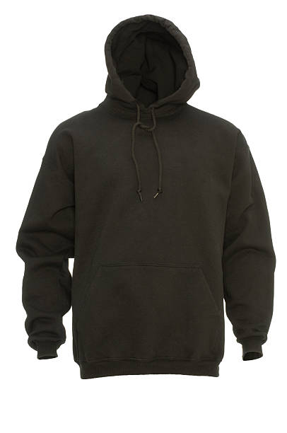 Black hooded blank sweatshirt front-isolated on white w/clipping path:スマホ壁紙(壁紙.com)