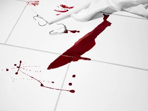 Murder「Knife shaped blood stain on a white tiled floor.」:スマホ壁紙(19)