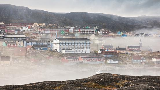 Danish Culture「Ilulissat in morning Fog Cityscape Panorama Greenland Denmark」:スマホ壁紙(9)