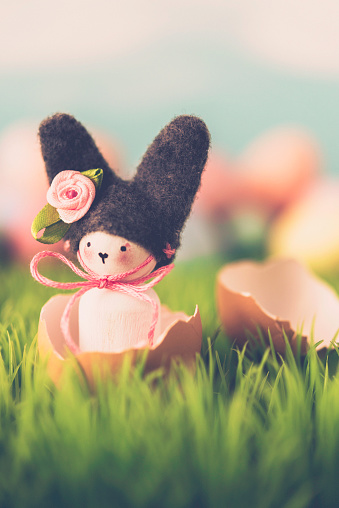 イースター「Cute Easter still life with bunny and eggs in grass」:スマホ壁紙(5)