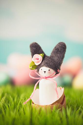 イースター「Cute Easter still life with bunny and eggs in grass」:スマホ壁紙(6)