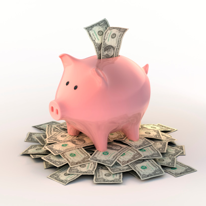 Piglet「Piggybank full of dollar bills (Clipping path included)」:スマホ壁紙(19)