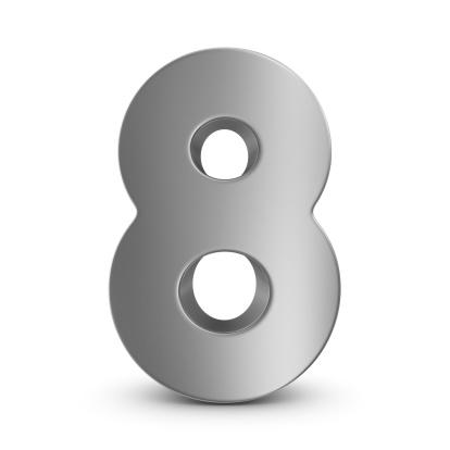 数字の8「金属数字の 8」:スマホ壁紙(6)