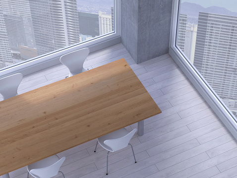 Chair「Table with chairs in a meeting room of a modern office, 3D Rendering」:スマホ壁紙(16)