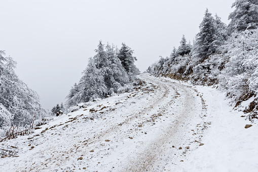 Hairpin Curve「Snow scene on mountain roads in Sichuan,Sichuan Province,China」:スマホ壁紙(19)