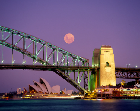 Sydney Harbor Bridge「Sydney Harbour Bridge, Opera House & full moon」:スマホ壁紙(14)