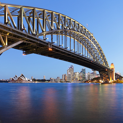 Sydney Harbor Bridge「Sydney Harbor Bridge against skyline at night」:スマホ壁紙(13)