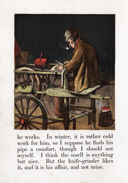 Sharpening「Itinerant knife grinder sharpening a blade by turning a grindwheel with a treadle, c1867.」:写真・画像(2)[壁紙.com]