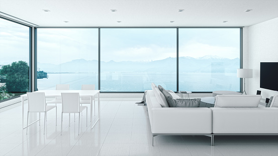 Looking Through Window「Minimalist Home Interior With Sea View」:スマホ壁紙(6)