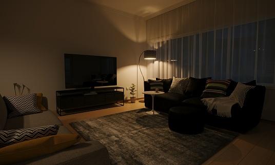 Night「Minimalist Living Room Interior」:スマホ壁紙(16)