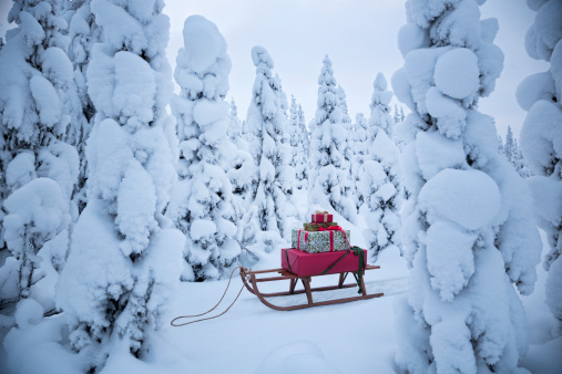 Snow sled「A sled with Christmas gifts in a snowy forest」:スマホ壁紙(5)