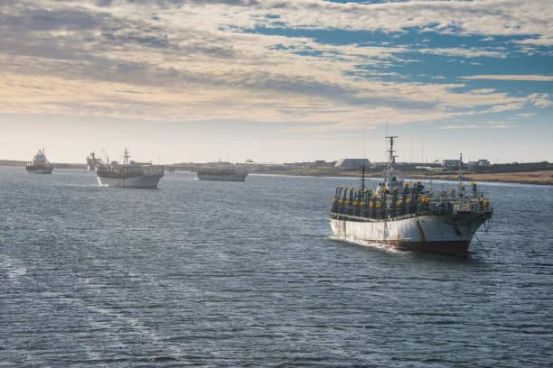 UK, Falkland Islands, Stanley, Fishing trawlers sailing near coast:スマホ壁紙(壁紙.com)