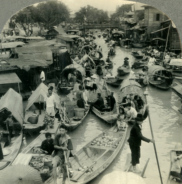 City Life「Market Boats On A Canal Leading Into The Menam River」:写真・画像(18)[壁紙.com]