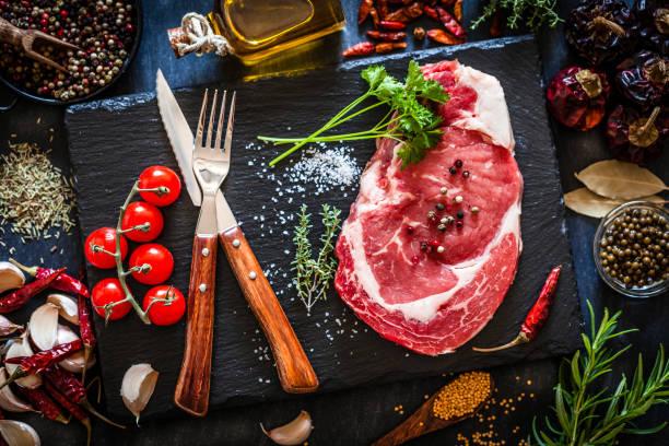 暗い背景に新鮮な生の牛肉ステーキ:スマホ壁紙(壁紙.com)