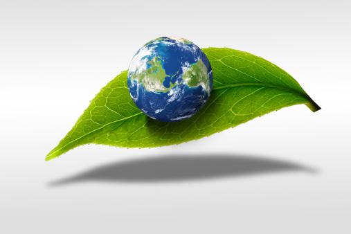 Cartoon「Digital composite of earth and greenn leaf」:スマホ壁紙(5)