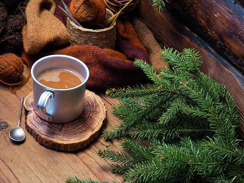 Coffee - Drink「Hot chocolate in rustic mug」:スマホ壁紙(15)