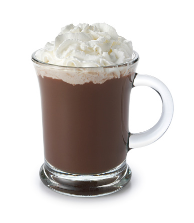 ココア「ホットチョコレートのカウンタートップとホイップクリーム入りの白背景」:スマホ壁紙(7)