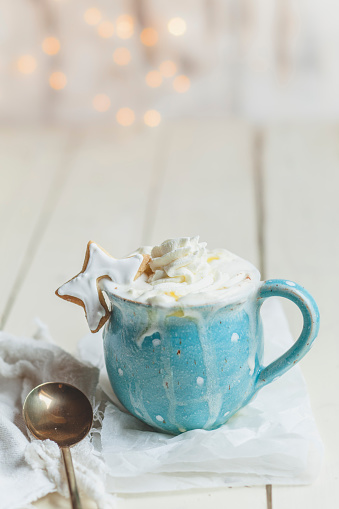 Cocoa「Hot chocolate with whipped cream and star shaped cookie」:スマホ壁紙(9)