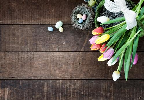 Easter Basket「Easter Spring Tulips Frame Rustic Background」:スマホ壁紙(11)