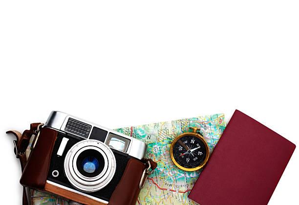 Essential travel equipments lying over white:スマホ壁紙(壁紙.com)