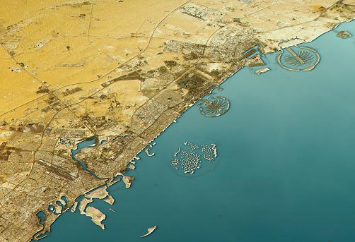 Persian Gulf Countries「Dubai 3D Landscape View North-South Natural Color」:スマホ壁紙(18)