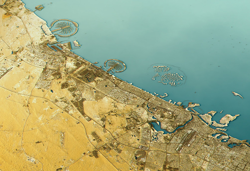 自然地理学「Dubai 3D Landscape View East-West Natural Color」:スマホ壁紙(15)