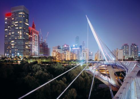 Footbridge「Pedestrian bridge and skyline of Seoul at dusk」:スマホ壁紙(8)