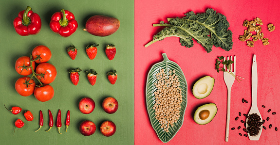 Chili Con Carne「Fruit and vegetables background knolling from above flat lay」:スマホ壁紙(17)