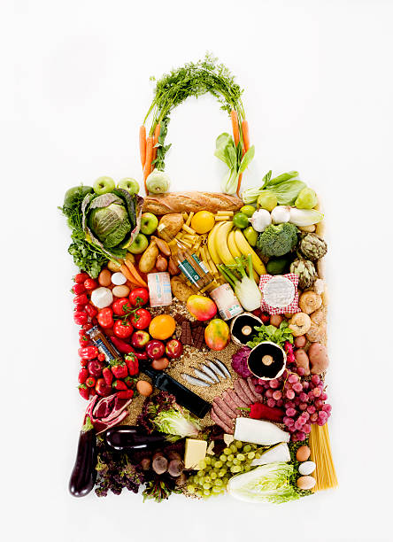 Fruit and vegetables in shape of shopping bag:スマホ壁紙(壁紙.com)