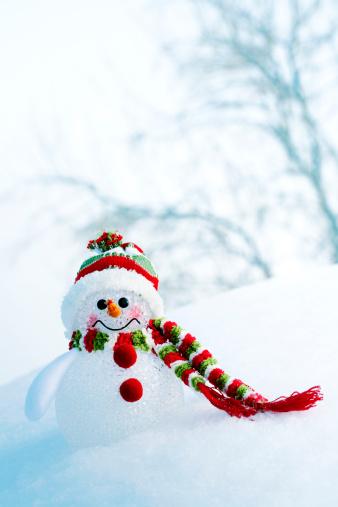 雪だるま「スノーマンで凍った森林」:スマホ壁紙(5)