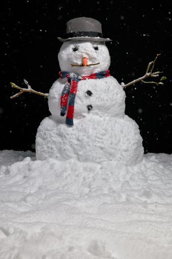 雪だるま「Snowman at night」:スマホ壁紙(15)