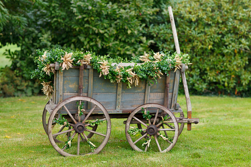 Harvest Festival「Germany, Luneburger Heide, decorated harvest wagon standing on a meadow」:スマホ壁紙(5)