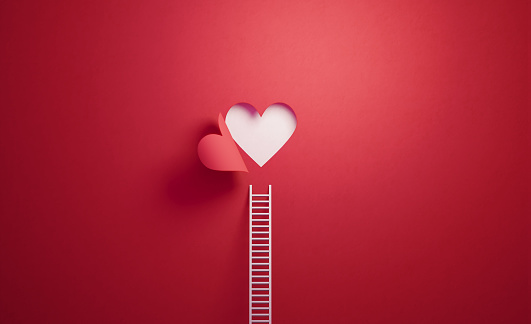 Heart Shape「White Ladder Leaning on Red Wall with Cut Out Heart Shape」:スマホ壁紙(9)