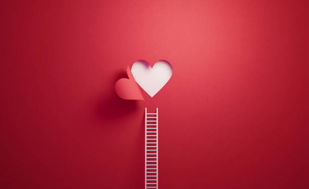 White Ladder Leaning on Red Wall with Cut Out Heart Shape:スマホ壁紙(壁紙.com)